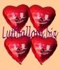 Luftballons Helium Set Hochzeit, 50 Folien-Herzluftballons Rot, Alles Gute zur Hochzeit, mit Ballongas