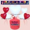 Luftballons Helium Einweg Set, Herzluftballons, rot und weiß, 50 Stück