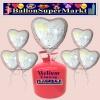 Helium-Set mit Folien-Luftballons, Just Married, Champagnergläser