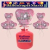 Helium-Set mit Folien-Luftballons, Just Married, Rosa