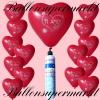 Luftballons Helium Set, Miniflasche, Herzluftballons in Rot, Ti Amo