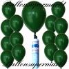 Luftballons Helium Set, Miniflasche, Latex-Luftballons in Dunkelgrün