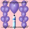 Luftballons Helium Set, Miniflasche, Latex-Luftballons in Lila