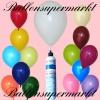 Luftballons Helium Set, Miniflasche, Latex-Luftballons bunt gemischt