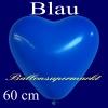 Herzluftballon, Luftballon in Herzform, 1 Stück, Blau, 60 cm