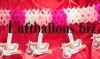 Dekoration zu Geburt und Taufe, Girlande mit Störchen, Rosa-Weiß
