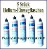 Helium-Einwegflaschen, 5 Stück mit 0,93 Liter Helium