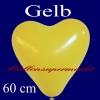 Herzluftballon, Luftballon in Herzform, 1 Stück, Gelb, 60 cm