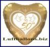 Luftballons Helium Set Goldene Hochzeit, 50 Folien-Herzluftballons, 50th, mit Ballongas