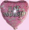 Luftballon zur Hochzeit, Folienballon, Just Married, Rosa, Champagner, mit Helium