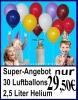 30 Luftballons und Helium-Mehrweg-Flasche mit 2,5 Liter Heliumgas, Versand zum Kindergeburtstag