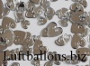 Konfetti Hochzeit, Tischdekoration, Herzen, Metallic, Silber