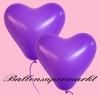 Herzluftballons, Herzballone, Luftballons in Herzform, 50 Stück, Lila, 30-33 cm