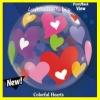Bubble-Luftballon, Motiv: Bunte Herzen, mit Helium-Ballongas