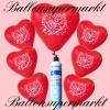 Luftballons Helium Set, Miniflasche, Herzluftballons in Rot, Just Married