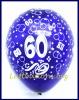 Zahlen-Luftballons, Zahl 60, Kristallfarben, 10 Stück