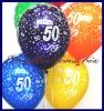 Zahlen-Luftballons, Zahl 50, Kristallfarben, 10 Stück