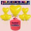 Luftballons Helium Einweg Set, Herzluftballons, gelb, 50 Stück