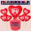 Luftballons Helium Einweg Set, Herzluftballons, rot, Hochzeitstauben, 50 Stück