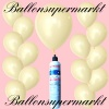 Luftballons Helium Set, Miniflasche, Latex-Luftballons in Elfenbein