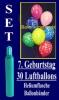 Luftballons Helium Set zum 7. Geburtstag, 30 Latex-Luftballons mit der Zahl 7