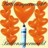 Luftballons Helium Set, Miniflasche, Herzluftballons in Orange