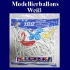 Modellierballons, Weiß, 100 Stück