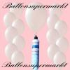 Luftballons mit Mini-Heliumflasche, Ballons in metallischen Farben, Weiß