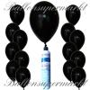Luftballons Helium Set, Miniflasche, Latex-Luftballons in Schwarz