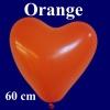 Herzluftballon, Luftballon in Herzform, 1 Stück, Orange, 60 cm