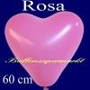 Herzluftballon, Luftballon in Herzform, 1 Stück, Rosa, 60 cm