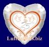 Luftballon zur Silbernen Hochzeit, Herzluftballon in Silber