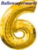 Zahlen-Luftballon Gold, Zahl 6
