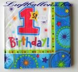 Servietten zum Kindergeburtstag, Papierservietten, Tischdekoration, First Birthday, 1. Geburtstag, Boy
