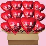 18 Luftballons mit Helium zur Hochzeit, Alles Gute zur Hochzeit, Rot, Hochzeitstauben, Folienballone