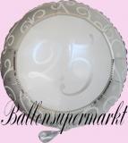 Luftballon zur Hochzeit, Folienballon, 25, Silberhochzeit, mit Helium