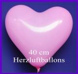 Rosafarbene Herzluftballons, 40 cm, 50 Stück