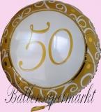 Luftballon zur Hochzeit, Folienballon, 50, Goldene Hochzeit, mit Helium