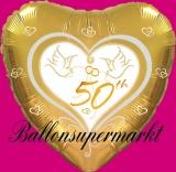 Luftballon zur Hochzeit, Folienballon, 50, Goldene Hochzeit mit Hochzeitstauben, mit Helium