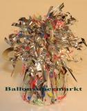 Ballongewicht, Folie, Silber, Happy Birthday, Geburtstag, Gewicht für Luftballons aus Folie