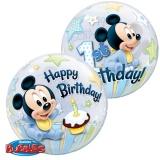 Bubble-Luftballon, Micky Maus Baby, Happy 1st Birthday, inklusive Helium