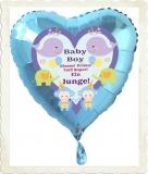 Luftballon zur Geburt eines Jungen, Baby-Boy, mit Helium aus Folie
