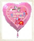 Luftballon zur Geburt eines Mädchens, Baby-Girl, mit Helium aus Folie