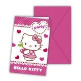 Einladungskarten mit Umschlag, Hello Kitty, 6 Stück