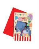 Einladungskarten mit Umschlag zum Kindergeburtstag, Winnie the Pooh, Pu der Bär Einladungen