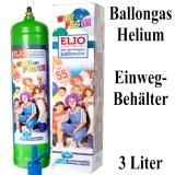 Helium-Ballongas Einwegflasche, 3 Liter Helium