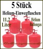 Helium-Einweg-Flaschen. 5 Stück mit je 2,245 Liter Heliumgas