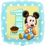 Micky Maus Baby zum 1. Geburtstag, Folien-Luftballon mit Helium