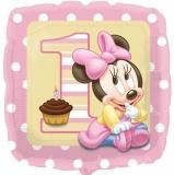 Minni Maus Baby zum 1. Geburtstag, Folien-Luftballon mit Helium