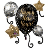 Silvester-Luftballon-Cluster aus Folie mit Helium, Happy New Year Ballontraube